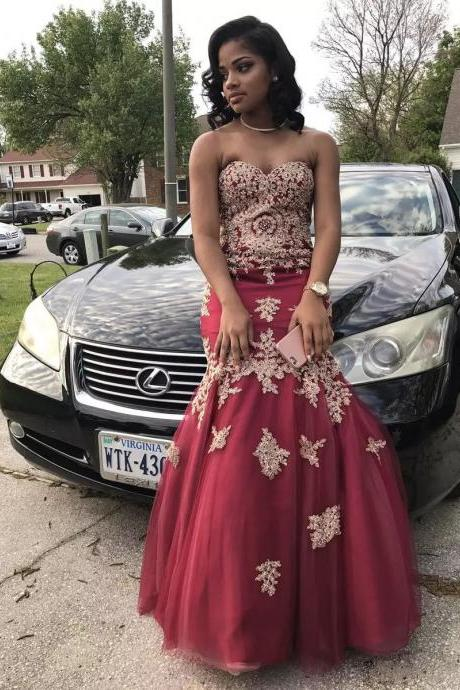 African Burgundy Prom Dresses Tulle Mermaid Prom Dress,Sweetheart Long Party Dress