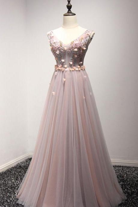 Custom Made Pink V-Neck Lace A-Line Floor Length Bridesmaid Dress with Floral Applique and Beading