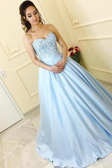 Cute Lace Flowers Prom Dress,Appliqued Prom Dresses
