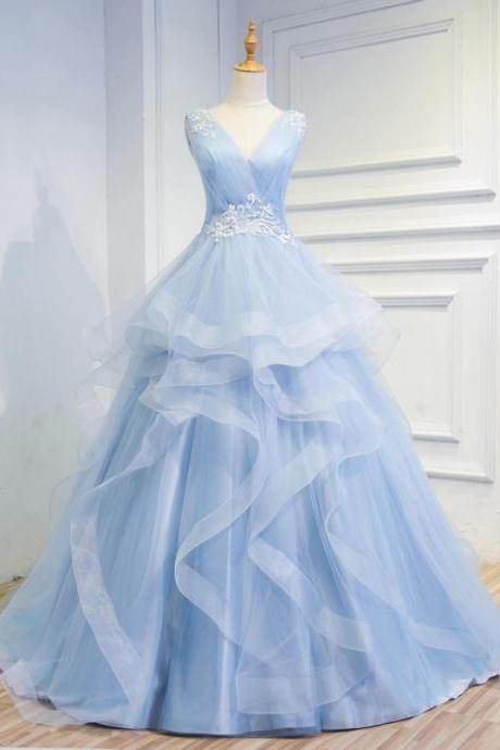 Wedding dresses,Fairy Tale Sky Blue Tulle V Neck Wedding Dresses,Appliques Sleeveless Lace up Back Tiered Bridal Gowns