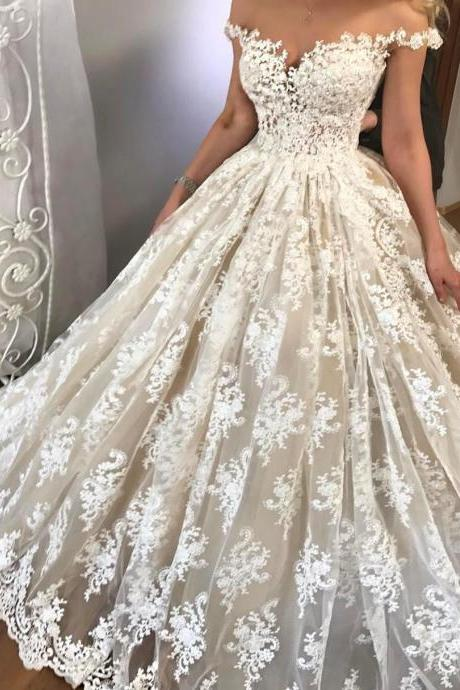 Sexy Lace Wedding Dress , Off Shoulder Wedding Dress , Ball Gown Wedding Dress , Short Sleeves Bride Dresses , Back Lace Up Bridal Gowns ,Lace Wedding Gowns