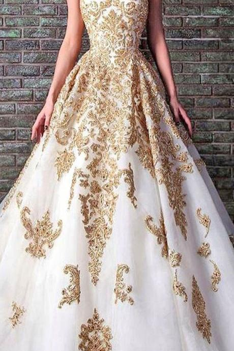 White and gold lace ball gown Prom Dress,A-line Prom Dresses,sweetheart Prom Gown,long prom dress,Sexy evening dress, Formal Evening Dresses,Porm Dress