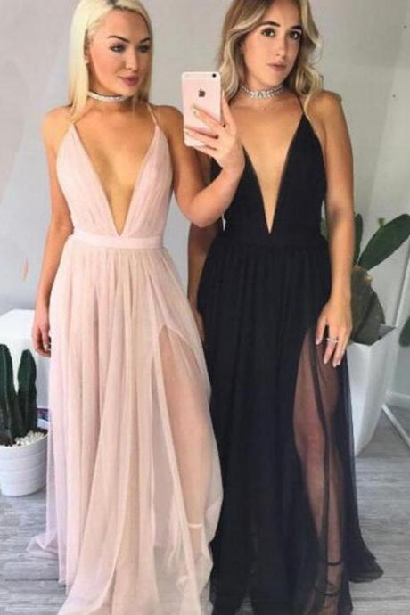 Charming Prom Dress,Sexy Prom Dress,Simple Prom Dress,Sexy Deep V-Neck Pink Prom Dress,Backless Prom Dress,Long Evening Dress,Formal Women Dress