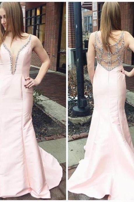 Beaded Pink Prom Dress,Plunging V Neck Prom Dress,Taffeta Mermaid Formal Gown With Sheer Back Prom Dresses