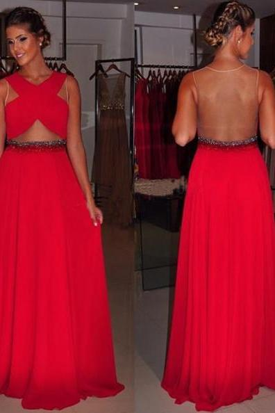 Red Criss-Cross Sheer Back A-line Chiffon Prom Dresses