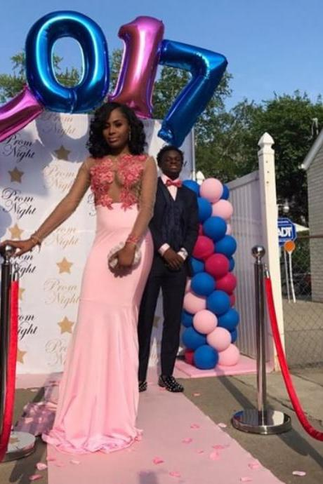 African Style Mermaid Pink Prom Dress Sexy Sheer Bodice Prom Dresses Long Sleeves Formal Gowns Lace Appliques Prom Dresses ,Party Dress for Black Girls