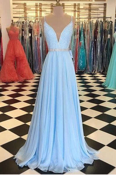 Baby Blue Prom Dress,A Line Chiffon Prom Dresses Crew Neck Beading Crystals Pleat Evening Dress Formal Gowns Vestidos