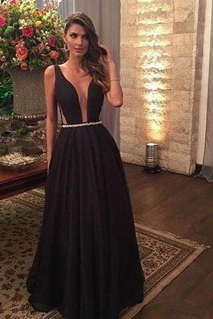 Black Prom Dresses Plunging V Neck Cutaway Floor Length Prom Dress,Sleeveless with Belt Evening Party Gowns