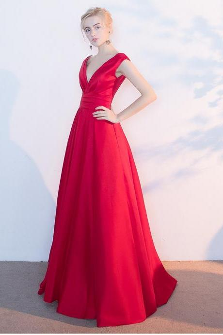 Red Prom Dress,Simple V-neckline Prom Dresses,A line Red Bridesmaid Dress,V-neckline Red Wedding Guest Dress,V-back Graduation Dress