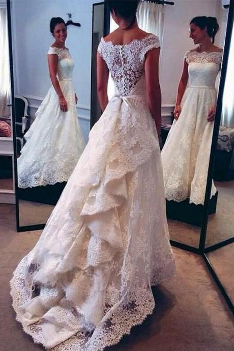 Lace Weeding Dress, Wedding Dress with Train, Wedding Dresses, Long Wedding Dress,Off Shoulder Short Sleeves V Back Lace Wedding Dresses
