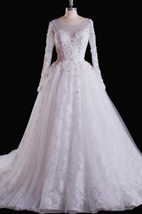 Wedding Dress,Wedding Gown,Bridal Gown,Bride Dresses, Long Wedding Dresses, Ball Gown Wedding Dress,Lace Wedding Dress,Princess Wedding Gown,Long Sleeves Wedding Dress,White Wedding Gowns,Appliqued Bridal Dresses,Customized Made Wedding Dress ,Beaded Wedding Dress