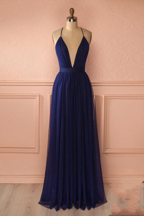 Navy Blue Bridesmaid Dress, Sexy Prom Dress, Deep V Neck Prom Dress, Long Bridesmaid Dress, Chiffon Bridesmaid Dress, Bridesmaid Dresses, Cheap Bridesmaid Dress, Wedding Guest Dresses