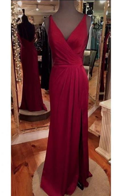Open Back Party Dress,Sexy Split Prom Gowns,Burgundy Graduation Dress,Slit Formal Dresses,V-neckline Burgundy Prom Dress,Sexy Burgundy Formal Dress,Backless Burgundy Evening Dress