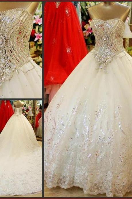 Luxury Wedding Dress, Wedding Party Dresses, Hot Sale Wedding Dress, Ball Gown Wedding Dress, A-Line Wedding Dress, Tulle Wedding Dress, Wedding Dress, Sweetheart Wedding Dress, Bridal Gowns With Rhinestones, Floor-Length Wedding Dress, Custom Made Wedding Dress