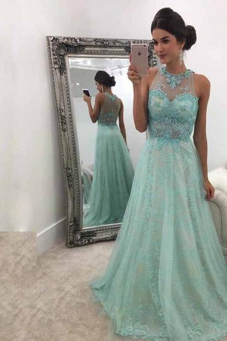 Mint Green Prom Dress,A-Line Round Neck Prom Dresses,Sweep Train Mint Green Prom Dress with Beading Lace Prom Dress