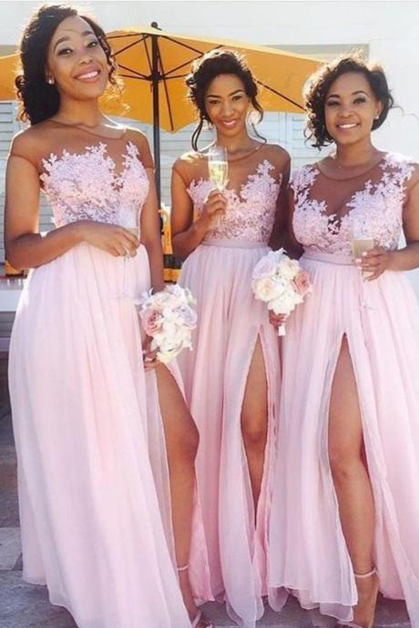 Lace Appliqued Sexy Bridesmaid Dress,Pink Bridesmaid Dresses,Long Bridesmaid Dresses with Slit