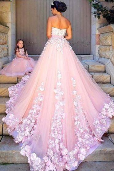 pink tulle wedding dress,New Arrival Prom Dress,Modest Prom Dress,pink tulle wedding dresses lace appliques,ball gown wedding dresses