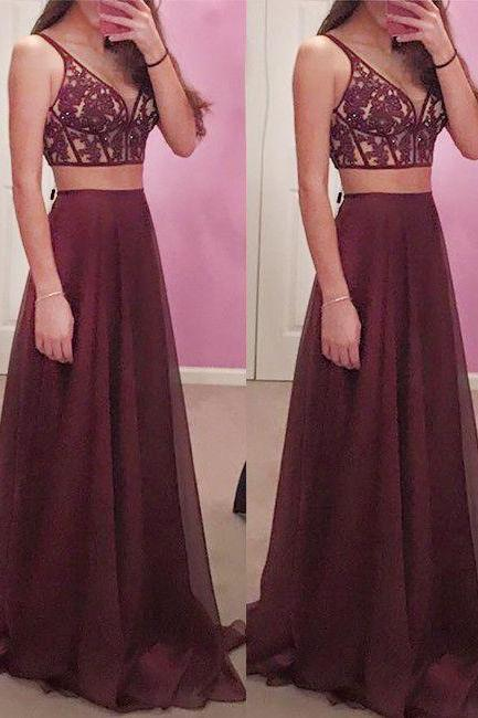 Gorgeous Wine Red 2 pieces Prom Dresses Long Sexy Evening Gowns Chiffon Two Piece Burgundy Formal Dress For Teens