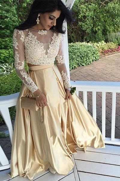 Long Sleeves Prom Dress, Two Piece Long Prom Dresses, Champagne Long Prom Dress, Lace Prom Dress, Formal Evening Prom Dress