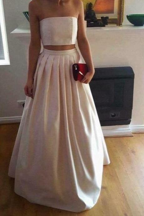 Gorgeous Two Piece Ivory Satin Party Dresses, Two Piece Prom Dresses , Party Dresses, Satin Long Formal Gowns