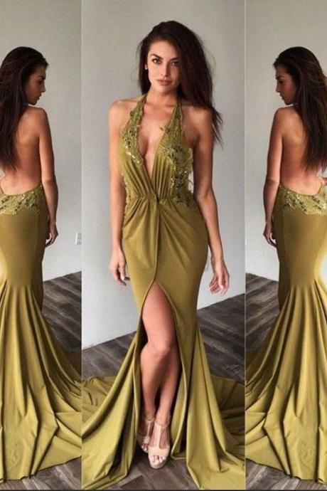 Sexy Backless Prom Dresses Long Mermaid Prom Dresses,New Style Halter Appliques Lace Chiffon Evening Party Dress
