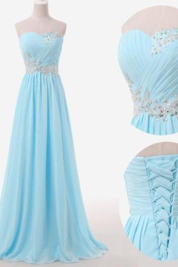 Light Blue Prom Dresses,Sweetheart Evening Gowns,Modest Formal Dresses,Beaded Prom Dresses,Fashion Evening Gown,Corset Evening Dress