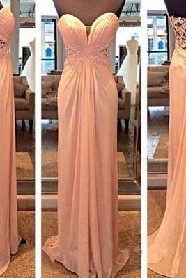 Light pink prom dresses long, sweetheart dress , strapless chiffon long ball gown for teens