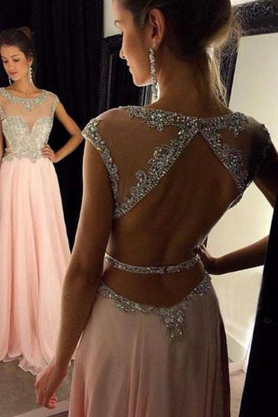 Sexy Prom Dress Evening Dresses Sheer Neckline Bling Bling Beaded Bodice Open Back Pink Evening Dress Prom Gown