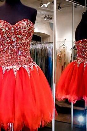 Charming Homecoming Dresses,New Prom Dress,Red Homecoming Dress,Red Prom Gown,Short Party Dress