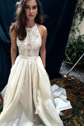 White Lace Wedding Dresses,Sexy Bridal Dresses,Wedding Dress