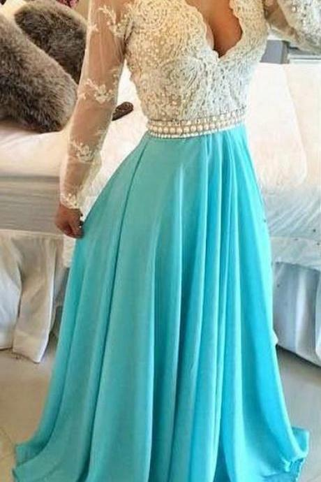 Long Sleeves Prom Dress, Turquoise Chiffon Prom Dresses Sheer Open Back Lace Beaded Evening Gowns