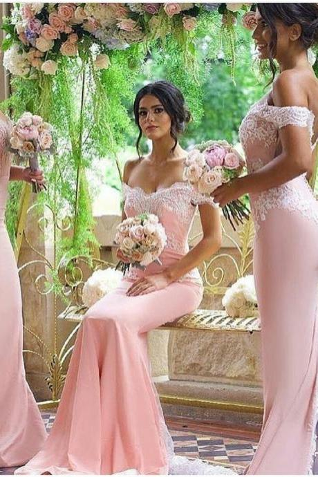 Off-shoulder Fit to Flare Lace and Satin Bridesmaid Dress