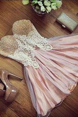 Homecoming Dress,lace prom dress,short prom dresses,pink homecoming dresses,modest homecoming dress,short prom gowns
