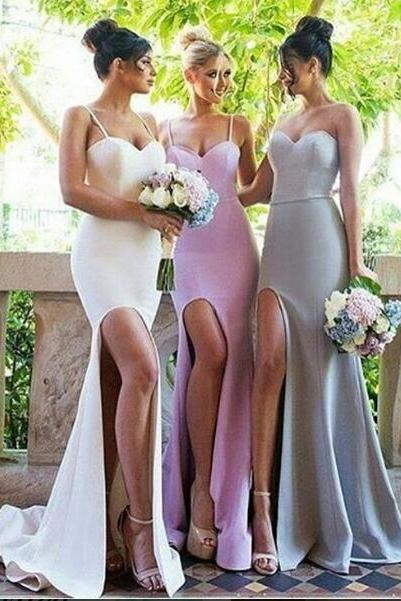 Sexy Bridesmaid Dress, Mermaid Spaghetti Straps Bridesmaid Dresses,Satin Bridsmaid Dress, Long Bridesaid Dresses