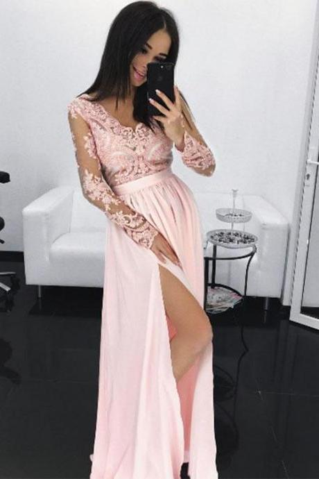 Prom Dresses,Pink Lace Chiffon Long Prom Dress, Long Sleeve Evening Dress,Sexy V Neck Prom Dress,Lace Sheer Prom Dress,Prom Dresses with Sleeves,High Slit Prom Dress