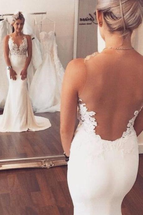 Lace Plunge V Sleeveless Floor Length Mermaid Wedding Dress Featuring Illusion Open Back and Train
