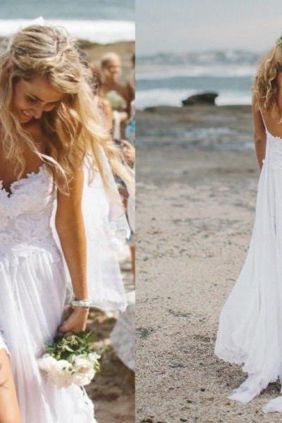 Lace Plunge V Long Sleeves Floor Length A-Line Wedding Dress Featuring Slit, Boho Wedding Dress, Beach Wedding Dress