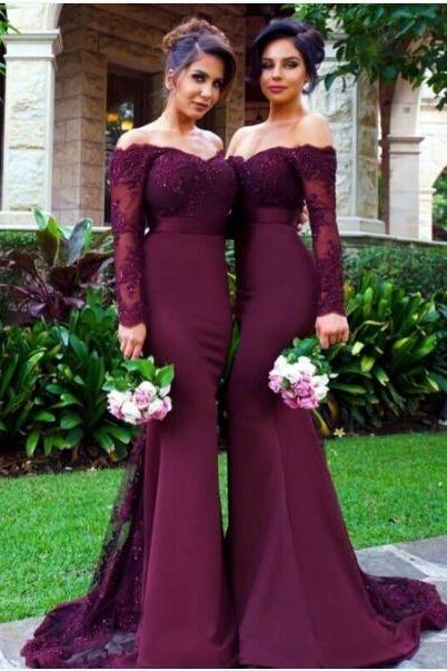 Burgundy Grpae Bridesmaid Dresses,Burgundy Mother of The Bride Dresses,Mother of the BrideDresses,Vestido Mae Da Noiva, Mermaid Formal Gowns,Burgundy Evening Dresses,Burgundy Prom Dresses