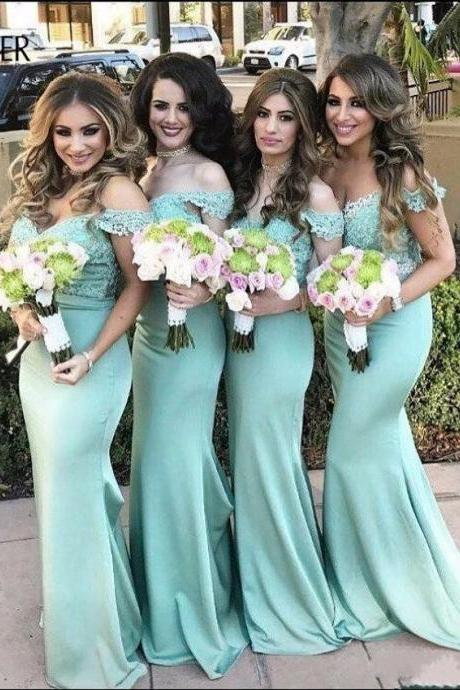 Bridesmaid Dress,Bridesmaid Gowns,Off the shoulder Mermaid Mint Green Long Bridesmaid Dress