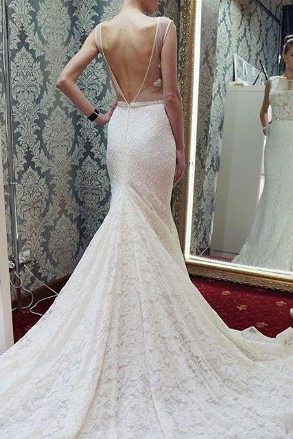 White Lace Appliques Wedding Dress,Backless Wedding Gowns, Ball Gown Bridal Dresses, Mermaid Wedding Dresses