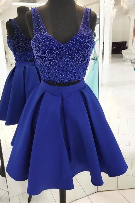 Royal Blue Short Prom Dresses, Royal Blue Homecoming Dresses, Beads Homecoming Dresses, Two Piece Homecoming Dress Prom Dress