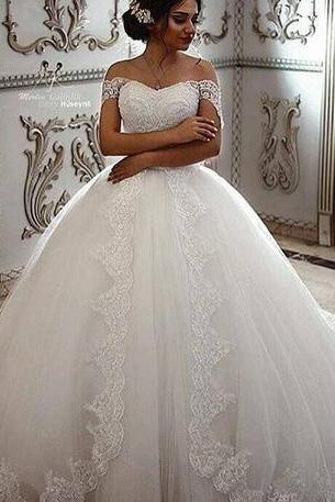 Wedding Gowns White Off the Shoulder Lace Appliques Ball Gown Bridal Dresses Wedding Dresses with Train