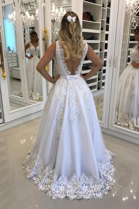 Wedding Dress, A Line Wedding Dresses, White Bridal Dresses, V Neck Wedding Dress, Lace Wedding Dress