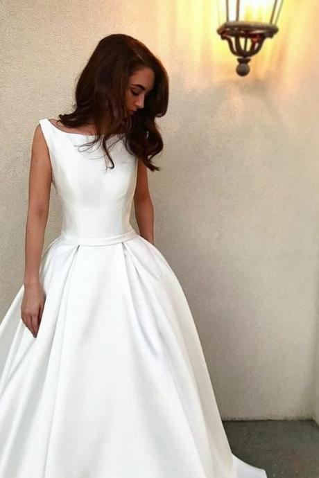 Scoop White A-line Satin Wedding Dress, Bridal Gown
