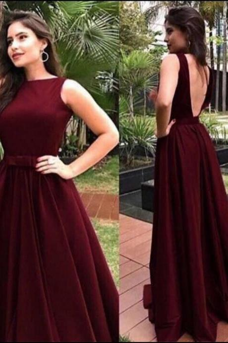 Burgundy Prom Dresses, Evening Dress,Prom Dress, Sleeveless Prom Dress, Elegant Prom Dress, Backless Prom Dress, Floor Length Prom Dress, A-line Prom Dress