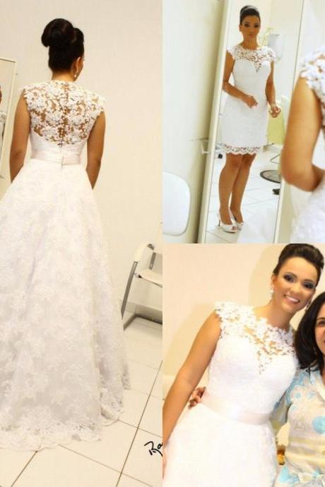 Wedding Dress, Vintage Ball Gown Wedding Dresses, High Neck Sleeveless Long Bridal Gowns Detachable Removable Skirt robe de mariage