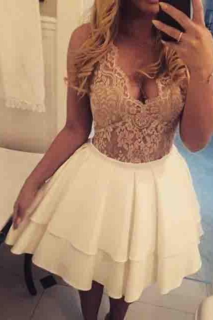 A-Line Homecoming Dresses,V-Neck Homecoming Dress,Illusion Back Prom Dresses,Ivory Homecoming Dresses,Satin Prom Gown,Short Homecoming Dress with Lace