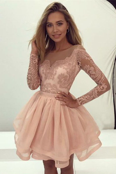Long Sleeves Prom Gown,Pink Homecoming Dresses,Organza Homecoming Dress,Short Homecoming Dress with Lace