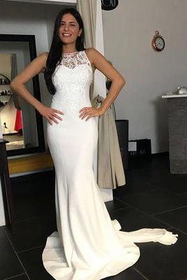 Glamorous Mermaid Prom Dresses,Jewel Sleeveless Prom Dress,White Sweep Train Prom Dress With Lace