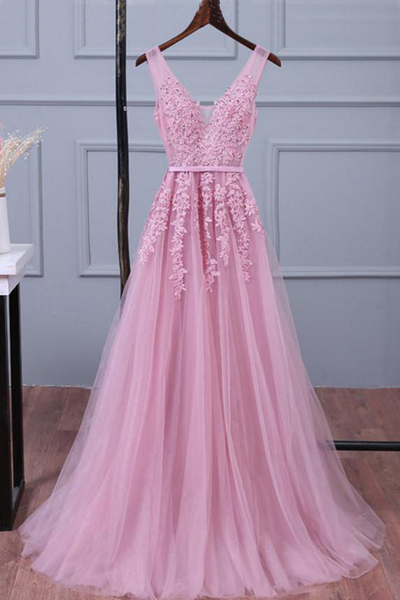 Pink tulle prom dresses,long V neck prom dress,lace up customize prom dress, long evening dress